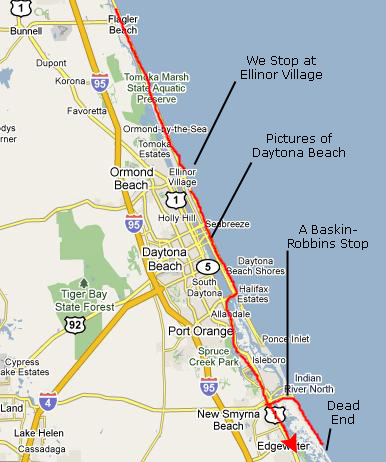 daytona beach map. Now it was time for a short